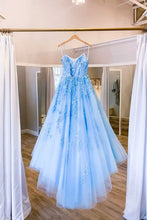 Load image into Gallery viewer, Sky Blue Tulle Lace Up Spaghetti Straps Long Dress, Prom Dress, Evening Dress