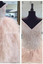 Load image into Gallery viewer, Sweet 16 Dresses | Pink organza V-neck sequins beaded tiered A-line  long dresses,ball gown dresses