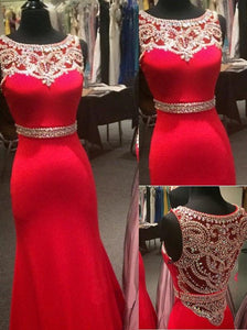 2018 evening gowns - Luxury red chiffon shining beading round neck full-length prom dresses, evening dress with straps