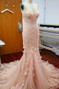 2019 Prom Dresses | Apricot tulle applique lace sweetheart mermaid long prom dresses,graduation dresses
