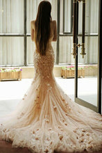 Load image into Gallery viewer, 2019 Prom Dresses | Apricot tulle applique lace sweetheart mermaid long prom dresses,graduation dresses
