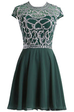 Load image into Gallery viewer, Sweet 16 Dresses | Green chiffon sequins beading A-line round neck A-line simple short prom dresses