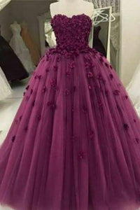 2019 Prom Dresses | Burgundy organza handmade flowers applique sweetheart ball gown dresses