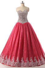 Load image into Gallery viewer, 2019 Prom Dresses | Coral Tulle Beaded Long Evening Dress, Senior Prom Dress With Applique