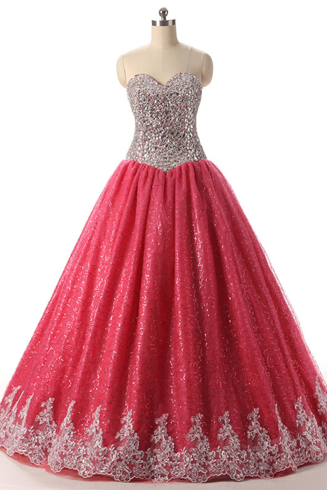 2019 Prom Dresses | Coral Tulle Beaded Long Evening Dress, Senior Prom Dress With Applique
