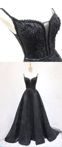 2019 Prom Dresses | Black lace V neck long A line beaded evening dress, black prom dress