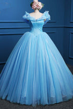 Load image into Gallery viewer, Sweet 16 Dresses | Princess blue tulle high waist floor length ball gown, long blue evening dresses