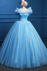 Sweet 16 Dresses | Princess blue tulle high waist floor length ball gown, long blue evening dresses