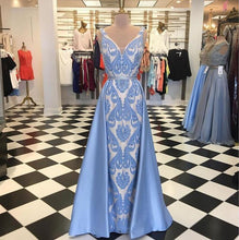 Load image into Gallery viewer, 2019 Prom Dresses | Blue satin V neck long halter evening dress, long beaded prom dress