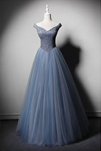 Load image into Gallery viewer, 2019 Prom Dresses | Blue Tulle Beaded V Neck Long Halter Evening Dress, High Waist Formal Prom Dress