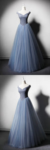 2019 Prom Dresses | Blue Tulle Beaded V Neck Long Halter Evening Dress, High Waist Formal Prom Dress