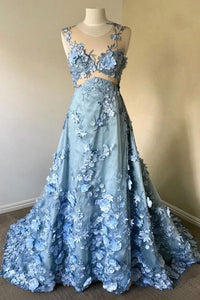 2019 Prom Dresses | Blue Flower Lace Round Neck Plus Size Long Formal Prom Dress, Party Dress