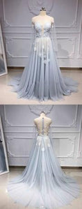 2019 Prom Dresses | Blue Tulle Long Sleeve A Line Custom Made Prom Dress, Evening Dress