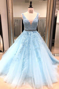 2019 Prom Dresses | Blue Tulle V Neck Long Senior Prom Dress With Lace applique