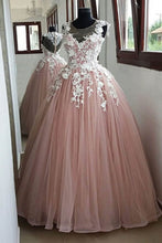 Load image into Gallery viewer, 2019 Prom Dresses | Blush pink O neck long sheer cap sleeve formal prom dress, evening dress