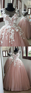 2019 Prom Dresses | Blush pink O neck long sheer cap sleeve formal prom dress, evening dress