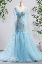 Load image into Gallery viewer, 2019 Prom Dresses | Bright Blue Tulle V Neck Long Sleeve Mermaid 3D Lace Applique Evening Dress, Prom Dress