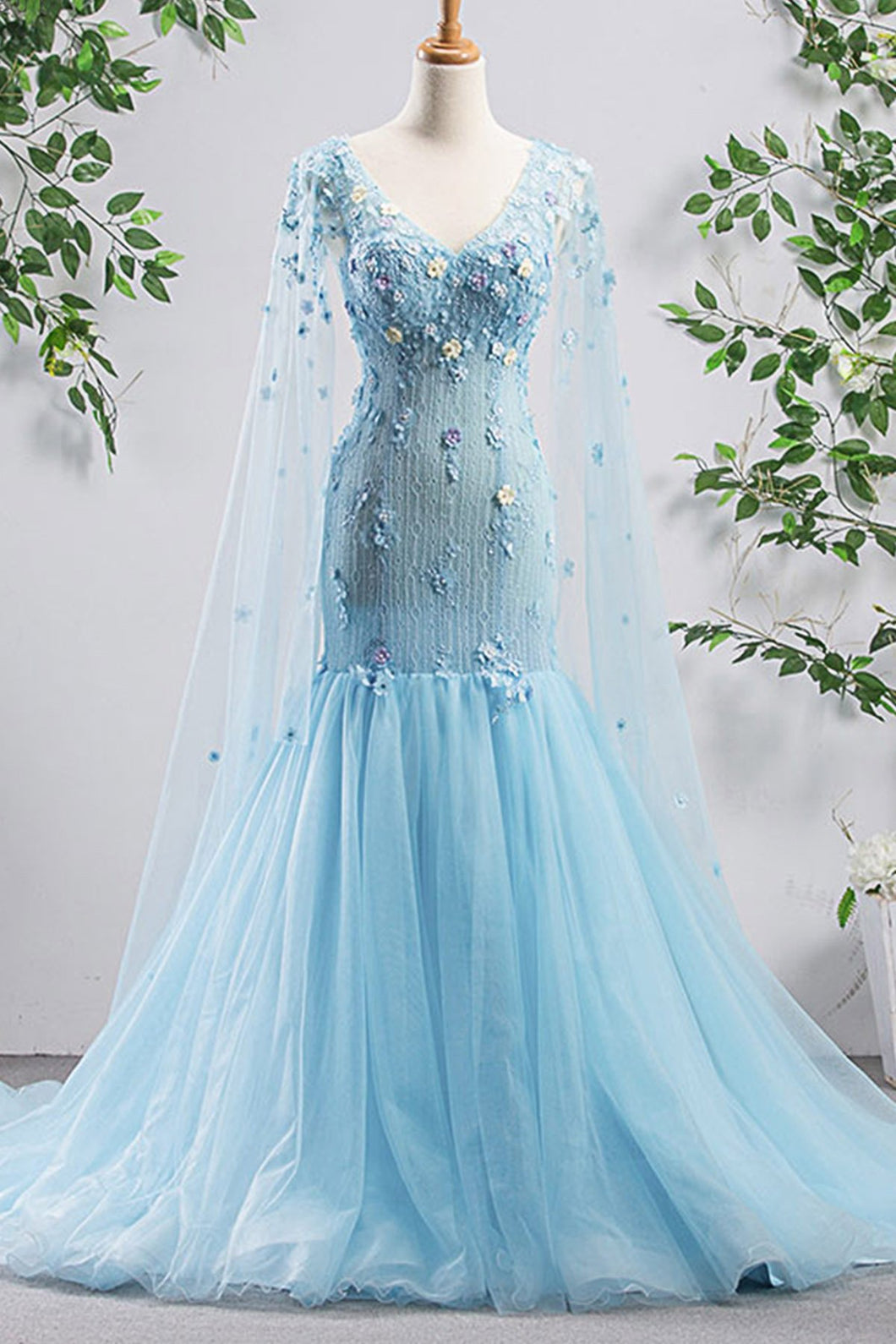 2019 Prom Dresses | Bright Blue Tulle V Neck Long Sleeve Mermaid 3D Lace Applique Evening Dress, Prom Dress