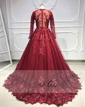 Load image into Gallery viewer, 2019 Prom Dresses | Burgundy Tulle Lace Long Sleeve Princess Ball Gown, Formal Prom Dress