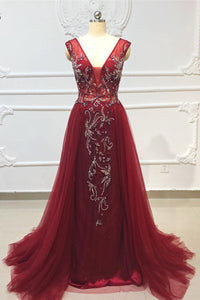 2019 Prom Dresses | Burgundy Tulle Crystal Beaded Floor Length Evening Dress, Open Back Prom Dress