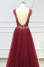 Load image into Gallery viewer, 2019 Prom Dresses | Burgundy Tulle Crystal Beaded Floor Length Evening Dress, Open Back Prom Dress