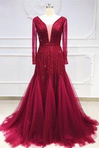 2019 Prom Dresses | Burgundy Tulle Crystal Beaded V Neck Long Sleeve Pageant Prom Dress, Evening Dress
