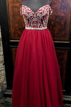 Load image into Gallery viewer, 2019 Prom Dresses | Burgundy Tulle Off Shoulder Long Spaghetti Straps Beaded Prom Dress, Evening Dress