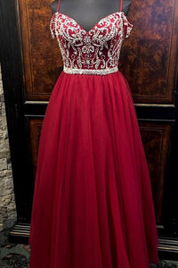 2019 Prom Dresses | Burgundy Tulle Off Shoulder Long Spaghetti Straps Beaded Prom Dress, Evening Dress
