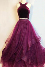 Load image into Gallery viewer, 2019 Prom Dresses | Burgundy velvet two piece long layered prom dress, homecoming dress