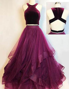 2019 Prom Dresses | Burgundy velvet two piece long layered prom dress, homecoming dress