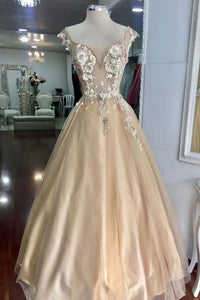2019 Prom Dresses | Champagne Tulle V Neck Long Lace Flower Senior Prom dress, Evening Dress