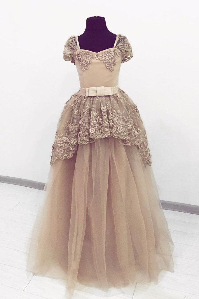 2019 Prom Dresses | Champagne Tulle Lace Sweetheart Puffy Sleeve Prom Gown, Senior Prom Dress