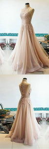 2019 Prom Dresses | Champagne Tulle O Neck Lace Custom Size Prom Dress, A Line Evening Dress