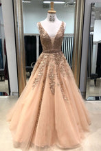 Load image into Gallery viewer, 2019 Prom Dresses | Champagne V Neck Long Tulle Lace Applique Prom dress, Evening Dress