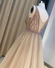 Load image into Gallery viewer, Sweet 16 Dresses | Stylish gray tulle V neck long beaded evening dresses, long see through party dress