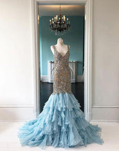 Load image into Gallery viewer, 2019 Prom Dresses | Custom Made Blue Tulle long Mermaid Beaded Prom Dress, Formal Dress