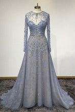 Load image into Gallery viewer, 2019 Prom Dresses | Blue Lace Customized O-Neck Women Evening Dress,  Long Sleeve Senior Prom Dress