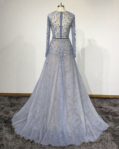 2019 Prom Dresses | Blue Lace Customized O-Neck Women Evening Dress,  Long Sleeve Senior Prom Dress
