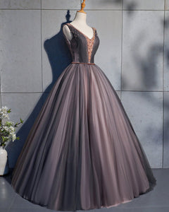 2019 Prom Dresses | Coffee Tulle Crystal Beaded Long Lace Up Prom Dress, Coffee Evening Dress