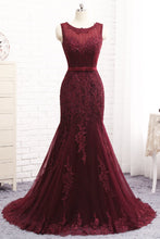 Load image into Gallery viewer, 2019 Prom Dresses | Burgundy Tulle Sequined Long Mermaid Senior Prom Dress With Bowknot