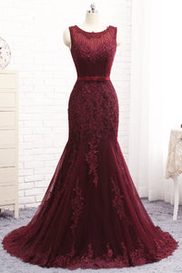 2019 Prom Dresses | Burgundy Tulle Sequined Long Mermaid Senior Prom Dress With Bowknot