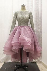 Sweet 16 Dresses | Stylish long sleeves beading high low layer prom gown, pink tulle party dresses