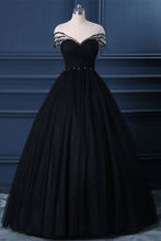 Load image into Gallery viewer, 2019 Prom Dresses | Black Tulle Cap Sleeve Black Tulle Crystal Long Formal Prom Dress, Party Dress