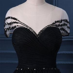 2019 Prom Dresses | Black Tulle Cap Sleeve Black Tulle Crystal Long Formal Prom Dress, Party Dress