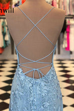 Load image into Gallery viewer, 2019 Prom Dresses | Blue Tulle Spaghetti Strap Beading Lace Applique Open Back Long Mermaid Prom Dress