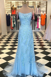 2019 Prom Dresses | Blue Tulle Spaghetti Strap Beading Lace Applique Open Back Long Mermaid Prom Dress