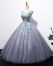Load image into Gallery viewer, Sweet 16 Dresses | Unique gray tulle long winter formal prom dress with appliqués, long plus size prom gown