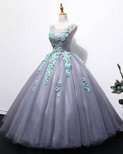 Sweet 16 Dresses | Unique gray tulle long winter formal prom dress with appliqués, long plus size prom gown