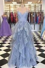 Load image into Gallery viewer, 2019 Prom Dresses | Blue Gray Tulle Spaghetti Straps Ruffles Long Senior Prom Dress, Lace Evening Dress