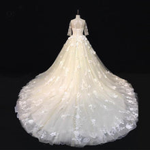 Load image into Gallery viewer, 2019 Prom Dresses | Beautiful ivory lace sweep train mid sleeves wedding dresses